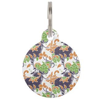 Artistic floral vines batik pattern pet name tag
