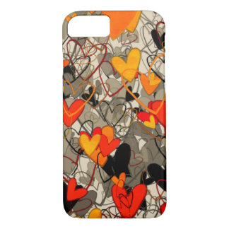 Artistic Free Hand Hearts Dramatic Crazy Red Black iPhone 7 Case