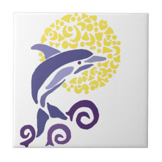 Artistic Fun Leaping Dolphin in the Moonlight Ceramic Tile