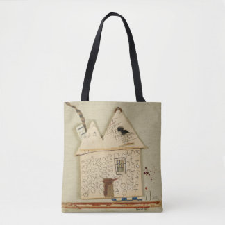 artistic, funny house,cute tote bag