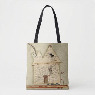 artistic, funny house,cute tote bag