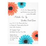 Artistic Garden Coral and Blue Wedding Custom Invite