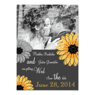 Artistic Garden Gray and Yellow Save the Date Card