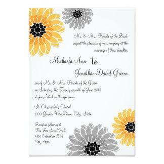 Artistic Garden yellow and gray Wedding Card