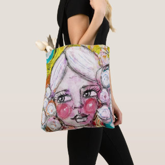 Artistic Girl Portrait Bubble Blue Yellow Fun Cute Tote Bag