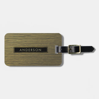 ARTISTIC GOLD FAUX SKETCH STRIPED LINE PATTERN LUGGAGE TAG