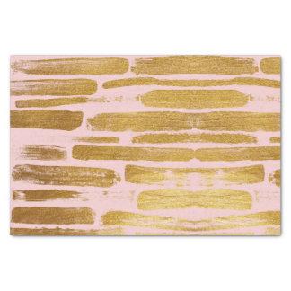 Artistic Gold Paint Brushstroke Stripes on Blush Tissue Paper