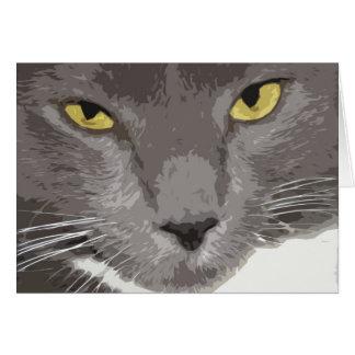 Artistic Gray Cat Face Card