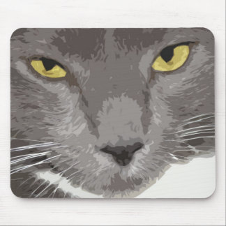Artistic Gray Cat Face Mouse Pad