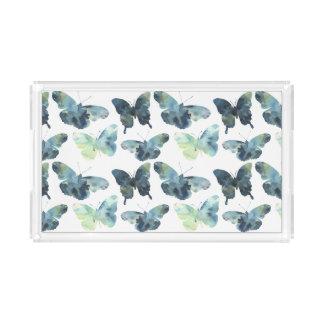 Artistic Green blue watercolor butterflies pattern Acrylic Tray