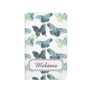 Artistic Green blue watercolor butterflies pattern Journal