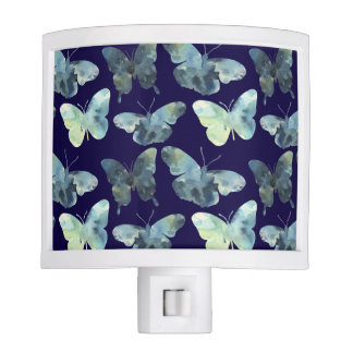 Artistic Green blue watercolor butterflies pattern Night Lights