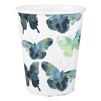 Artistic Green blue watercolor butterflies pattern Paper Cup