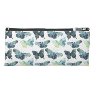Artistic Green blue watercolor butterflies pattern Pencil Case