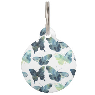 Artistic Green blue watercolor butterflies pattern Pet Tag