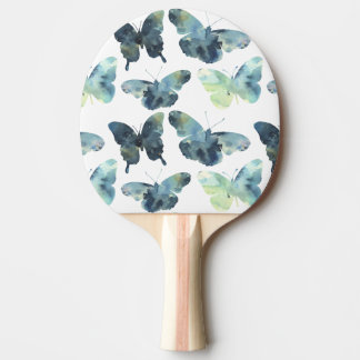 Artistic Green blue watercolor butterflies pattern Ping Pong Paddle