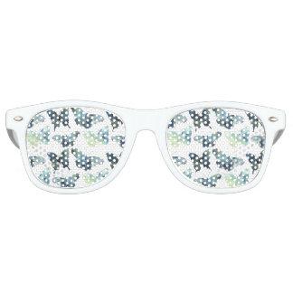 Artistic Green blue watercolor butterflies pattern Sunglasses