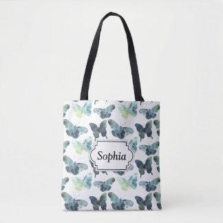 Artistic Green blue watercolor butterflies pattern Tote Bag