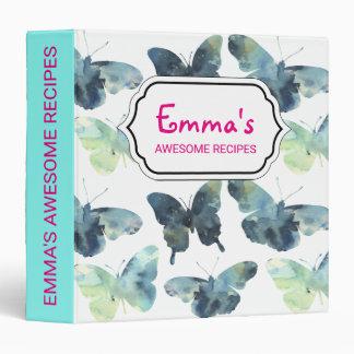 Artistic Green blue watercolor butterflies pattern Vinyl Binders