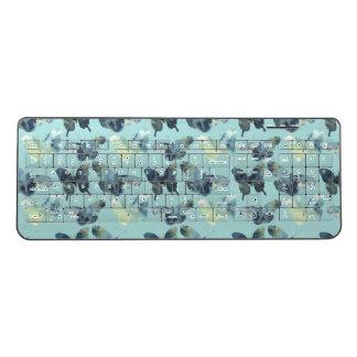 Artistic Green blue watercolor butterflies pattern Wireless Keyboard