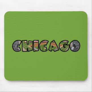 Artistic Green Chicago Emblem Mouse Pad