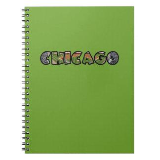 Artistic Green Chicago Logo Notebook