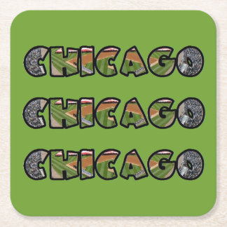 Artistic Green Chicago Logo Square Coaster