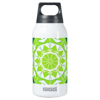 Artistic green mandala insulated water bottle