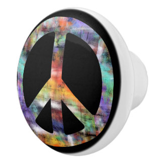 Artistic Grunge Peace Sign Ceramic Knob