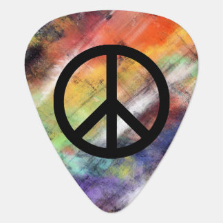 Artistic Grunge Peace Sign Guitar Pick