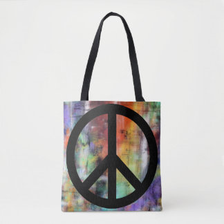 Artistic Grunge Peace Sign Tote Bag