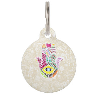 Artistic Hand Drawn Hamsa Hand an Floral Drawings Pet ID Tag