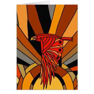 Artistic Hawk in Flight Art Deco Card