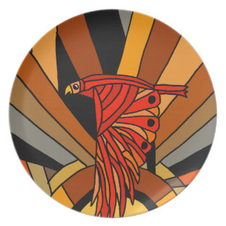 Artistic Hawk in Flight Art Deco Party Plate