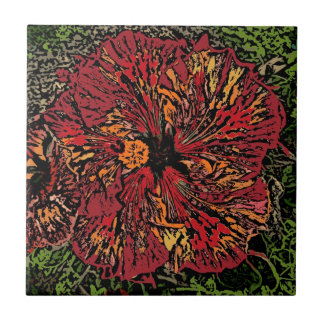 Artistic hibiscus flower decorative ceramic tile