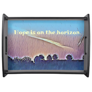 Artistic Hope On The Horizon Landscapes Serving Tray
