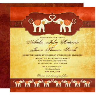 Artistic Indian White Elephants Wedding Invitation