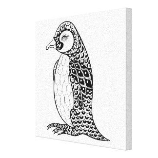 Artistic King Penguin Zendoodle 6 Canvas Print