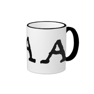 "Artistic Letter ""A"" Woodcut Woodblock Initial Ringer Coffee Mug"
