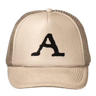 "Artistic Letter ""A"" Woodcut Woodblock Initial Trucker Hat"