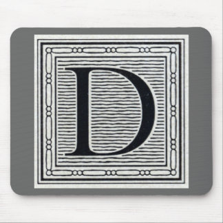 "Artistic Letter ""D"" Woodcut Woodblock Initial Mouse Pad"