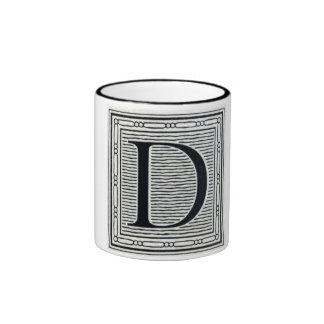"Artistic Letter ""D"" Woodcut Woodblock Initial Ringer Mug"