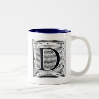 "Artistic Letter ""D"" Woodcut Woodblock Initial Two-Tone Coffee Mug"