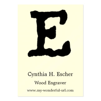 """Artistic Letter """"E"""" Hand Lettered Style Initial Large Business Card"""