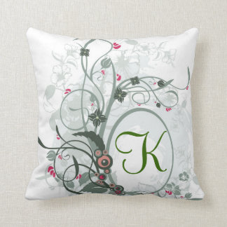 Artistic Letter K Monogram Throw Pillow