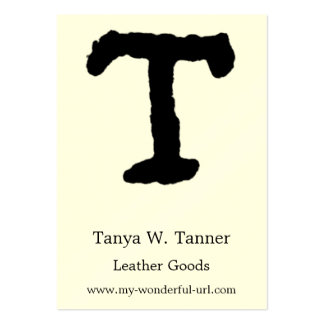 """Artistic Letter """"T"""" Hand Lettered Style Initial Large Business Card"""