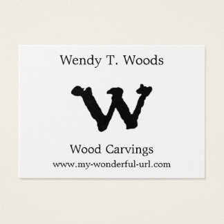 """Artistic Letter """"W"""" Hand Lettered Style Initial Business Card"""