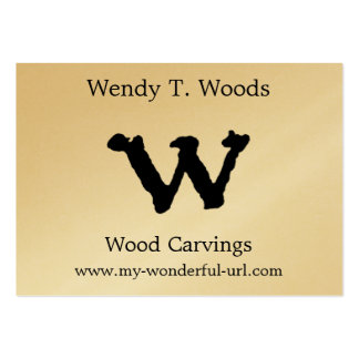 """Artistic Letter """"W"""" Hand Lettered Style Initial Large Business Card"""