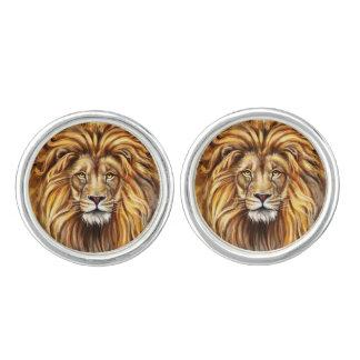 Artistic Lion Face Cufflinks