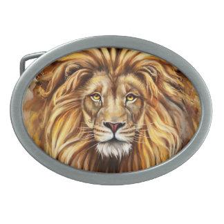 Artistic Lion Face Oval Belt Buckle